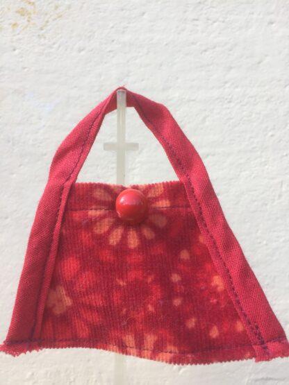 Tasje rood gebloemd met knoop